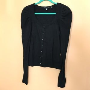 Anthropologie Knitted & Knotted Black Cardigan